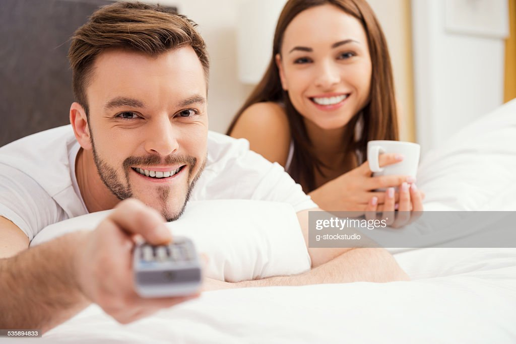 Loving couple in bed. : Stock Photo