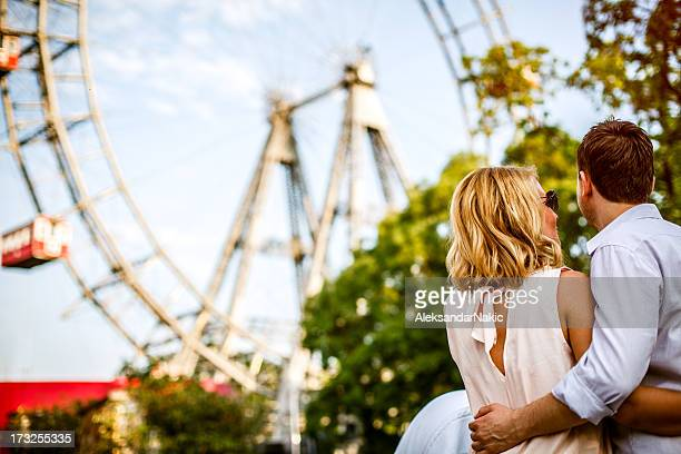 Loving couple in front of Vienna Prater