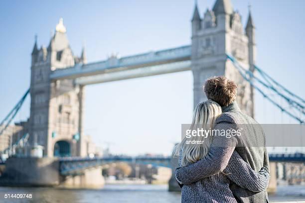 Loving couple in London
