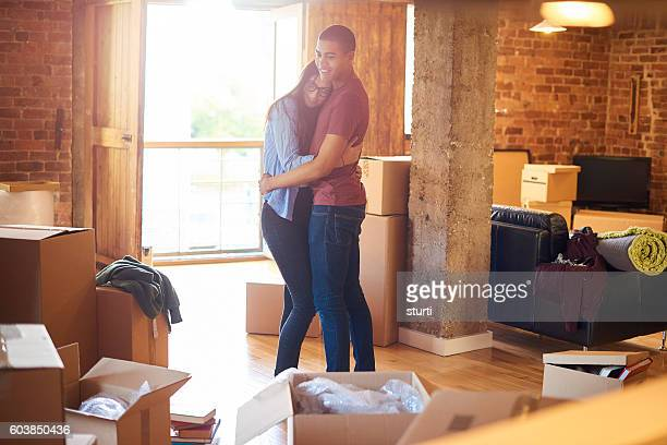loving couple in new apartment