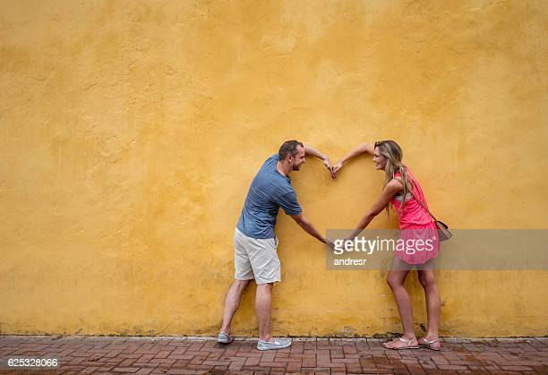 Loving couple of tourists in Cartagena