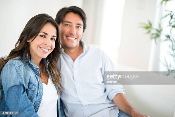 Loving couple relaxing at home
