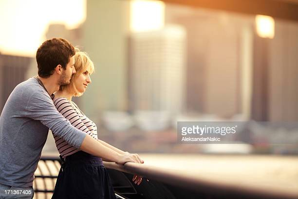 Loving couple relaxing by the river