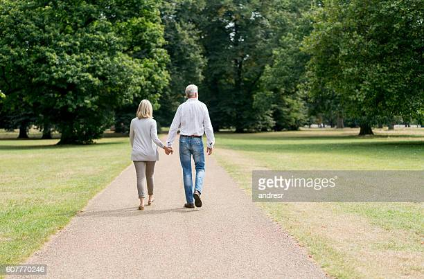Loving couple walking at the park