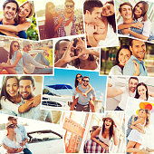 Collage of diverse multi-ethnic loving couples expressing positivity