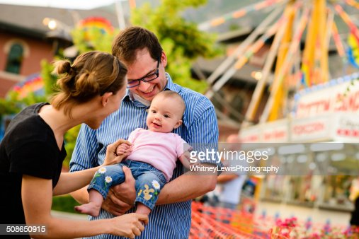 Loving Family at the Fair : Stock Photo