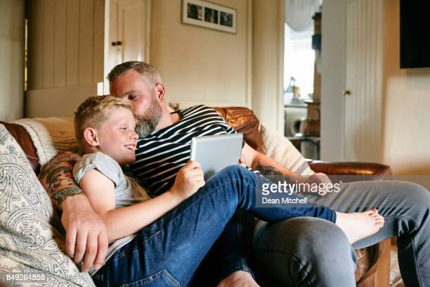 Loving father and son at spending time at home