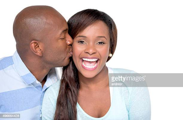 Loving husband kissing his wife
