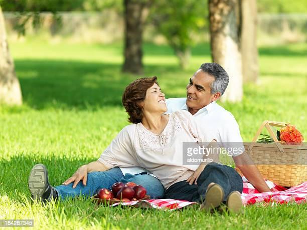 Amorevole Coppia matura avendo un picnic