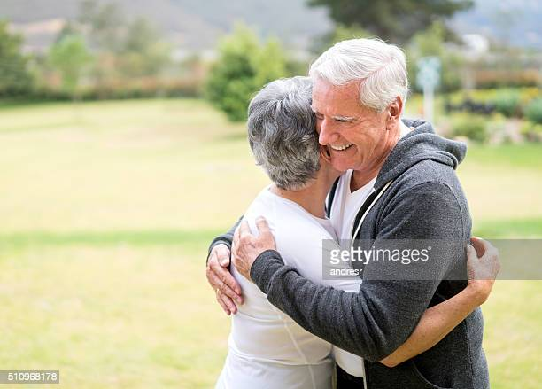 Loving retired couple