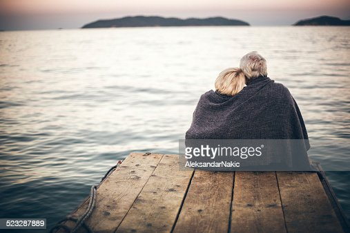 Loving senior couple enjoying the view