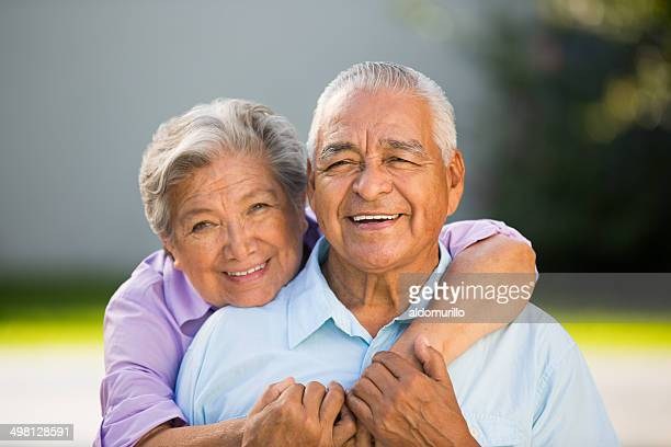 Loving senior couple hugging