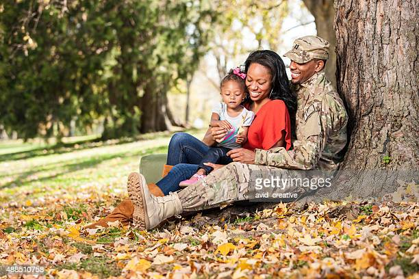 Loving Young Military Family at Park