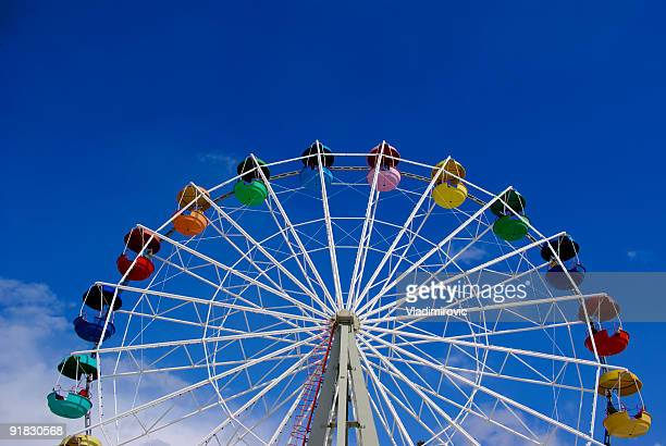 Low angle image of a Ferris wheel against a blue sky
