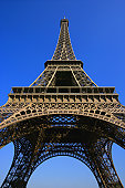 Low angle of Eiffel Tower