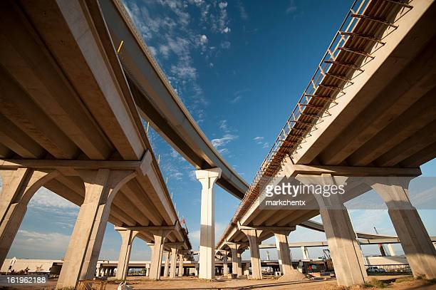 Low angle photo of freeway overpasses