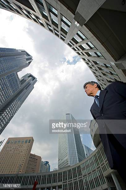 Low angle side view of a senior executive man