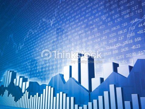 Low Angle Stock Market Bars Charts With Random Finance Data