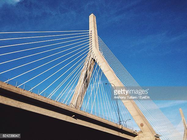 Low Angle View Cable-Stayed Bridge Against Blue Sky