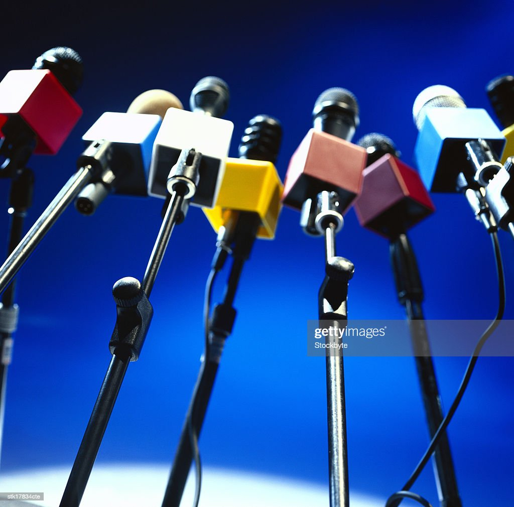 low angle view of a an array of microphones