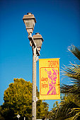 Low angle view of a banner on a lamppost, San Diego, California, USA
