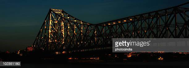 Low angle view of a bridge, Howrah Bridge, Hooghly River, Kolkata, West Bengal, India