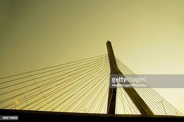 Low angle view of a bridge, Leonard P. Zakim Bunker Hill Bridge, Boston, Massachusetts, USA
