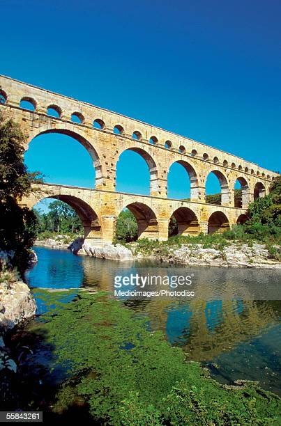 Low angle view of a bridge, Pont du Gard Bridge, Roussillon, Languedoc, France