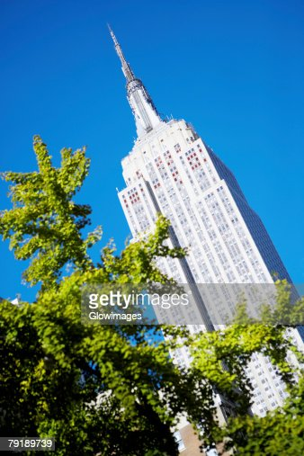 Low angle view of a building, Empire State Building, Manhattan, New York City, New York State, USA : Stock Photo