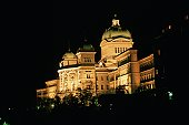 Low angle view of a building lit up at night, Berne, Berne Canton, Switzerland