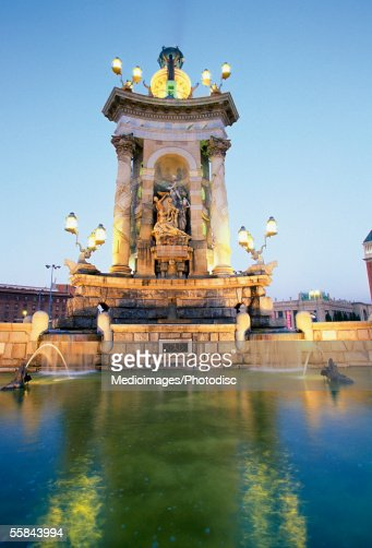 Low angle view of a building, Plaza de Espanya, Barcelona, Spain : Stock Photo