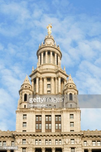 Low angle view of a building, Town Hall, New York City, New York State, USA : Stock Photo