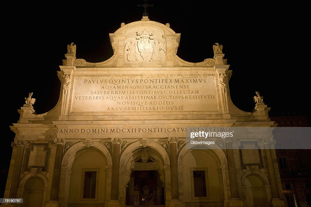 Low angle view of a church lit up at night, Fontana dell'Acqua Paola, Rome, Italy : Stock Photo