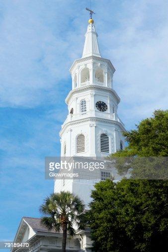 Low angle view of a church, St. John's Lutheran Church, Charleston, South Carolina, USA : Stock Photo