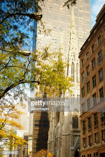 Low angle view of a church, St. Patrick's Cathedral, Manhattan, New York City, New York State, USA : Stock Photo