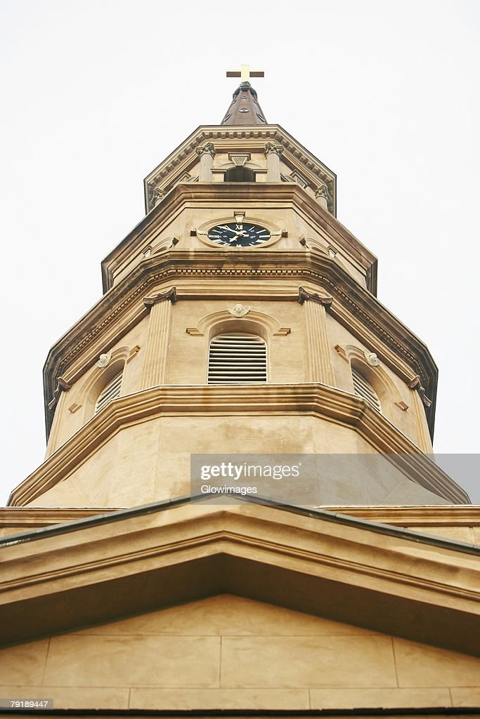 Low angle view of a church, St. Philip's Church, Charleston, South Carolina, USA : Stock Photo