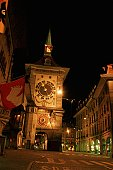 Low angle view of a clock tower in a city, Berne, Berne Canton, Switzerland