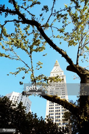 Low angle view of a clock tower, New York City, New York State, USA : Stock Photo