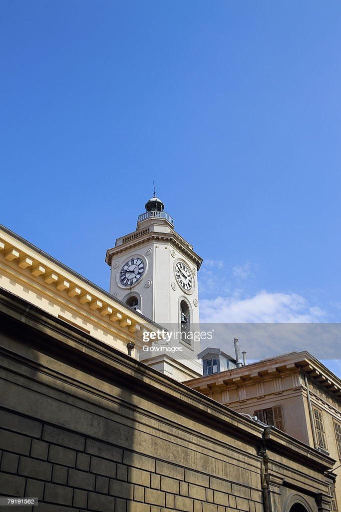 Low angle view of a clock tower, Nice, France : Foto de stock