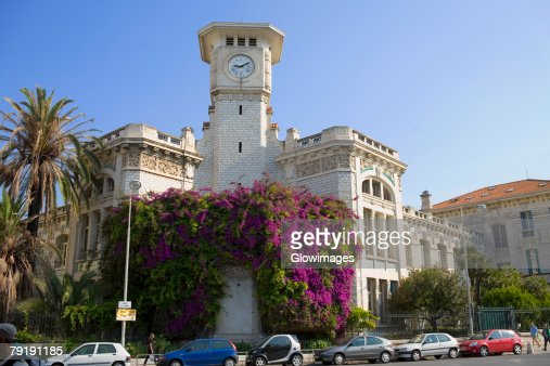 Low angle view of a clock tower of a building, Nice, France : Foto de stock