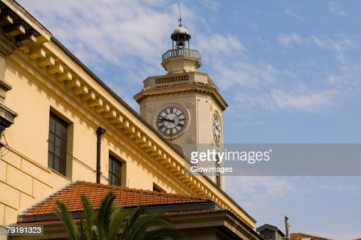 Low angle view of a clock tower of a building, Nice, France : Stock Photo