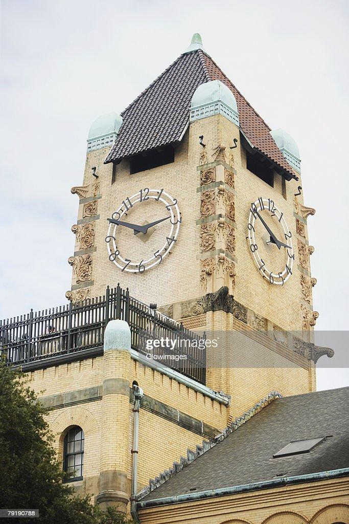 Low angle view of a clock tower, Savannah, Georgia, USA : Stock Photo
