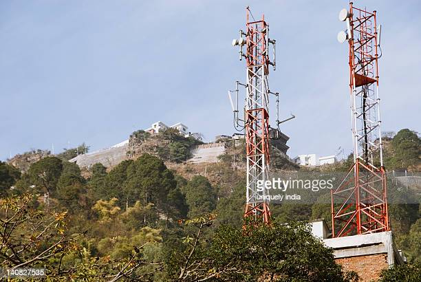 Low angle view of a communications towers, Vaishno Devi, Katra, Jammu And Kashmir, India