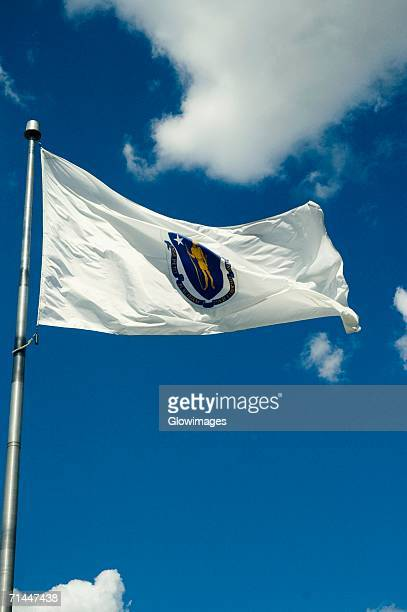 Low angle view of a flag fluttering in the wind, Boston, Massachusetts, USA
