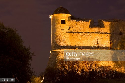 Low angle view of a fort, Fort du Mont Alban, Nice, France : Stock Photo