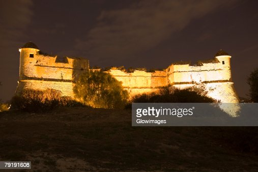 Low angle view of a fort, Fort du Mont Alban, Nice, France : Foto de stock