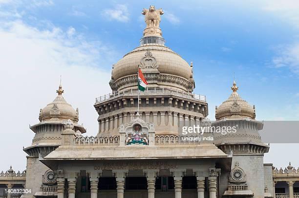 Low angle view of a government building, Vidhana Soudha, Bangalore, Karnataka, India