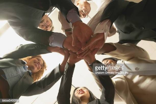 Low angle view of a Group of business executives in a huddle