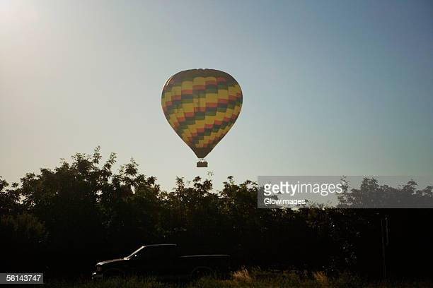 Low angle view of a hot air balloon flying in the sky