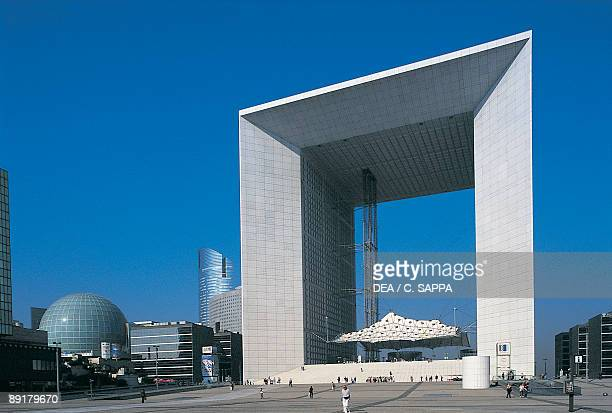 Low angle view of a monument Grande Arche La Defense Paris France